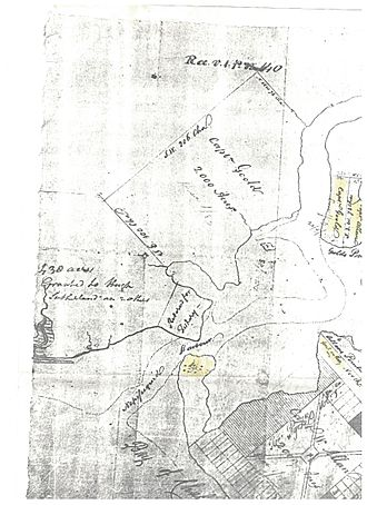 """Joseph Cunard - Government survey document indicating 1789 landholdings near Bathurst Harbour (formerly Nepisiguit Harbour) and Baie des Chaleurs New Brunswick. Seen at the upper centre-right is the """"Capt Gould"""" land grant, which was obtained some time after 1828 by Cunard."""