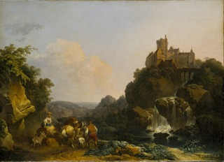 Landscape with Waterfall, Castle and Peasants