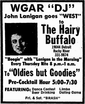 John Lanigan (radio) - 1974 print ad promoting local appearance for then-WGAR morning host Lanigan