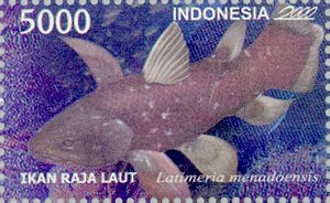 Indonesian coelacanth - Latimeria menadoensis featured in Indonesian stamp