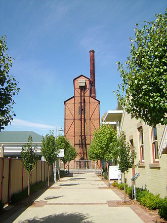 Launceston Gasworks - The vertical retort from the newly restored Boland Street half of the complex