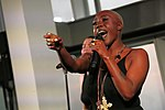 Laura Mvula performing at the -SheWill event for Global Citizen at The View From the Shard, London, 7 July 2016.jpg
