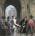 Le général Daumesnil refuse de livrer Vincennes (huile de Gaston Mélingue, 1882) 2.jpg