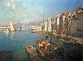 Le port de Toulon, le matin, avec le courrier des îles d'Or à l'embarcadère.jpg
