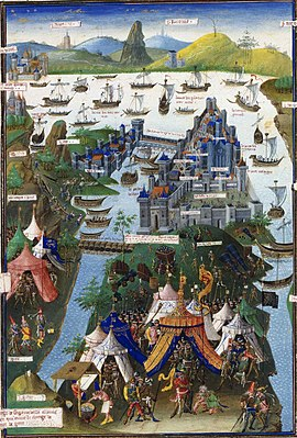 Le siège de Constantinople (1453) by Jean Le Tavernier after 1455.jpg