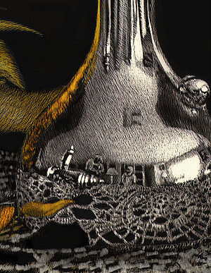 Scratchboard - A detail of Sunflower and Silver to show scratching technique.