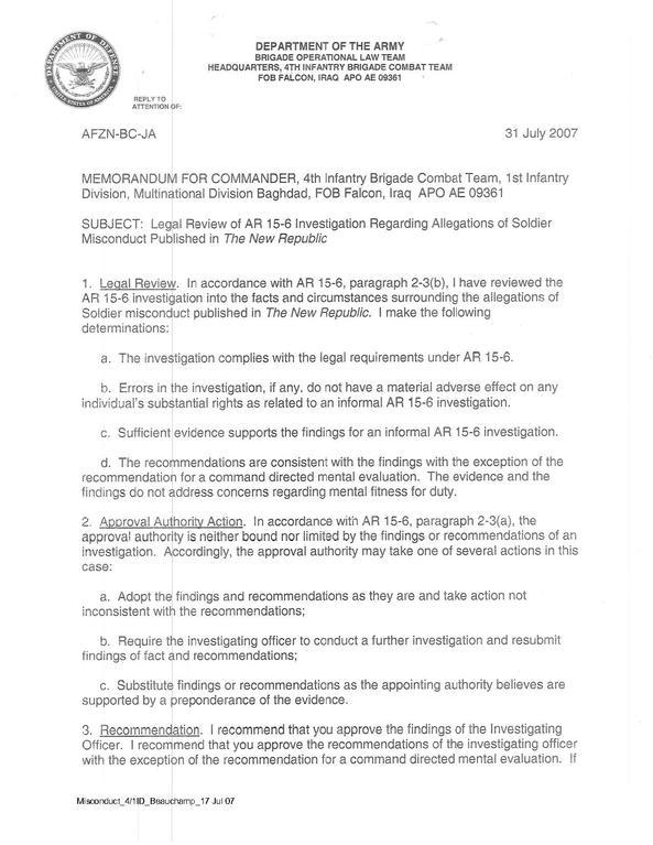 filelegal review of ar 156 investigation regarding