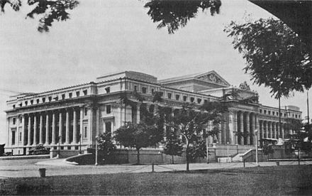 The Legislative Building on Padre Burgos Street in Ermita would serve as the National Library's home from 1928 to 1944.the present-day National Museum. Legislative Building, Manila.jpg