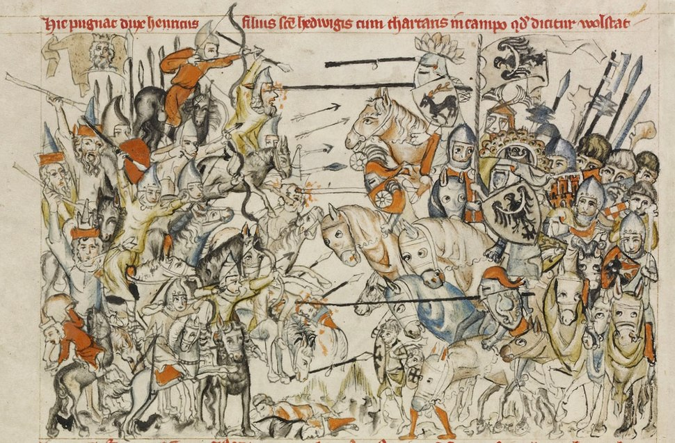 Painting of a battle scene with mounted warriors on either side