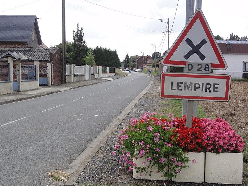 Lempire (Aisne) city limit sign