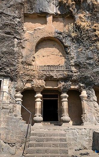 Lenyadri - Front of Cave 6, the main Chaitya.