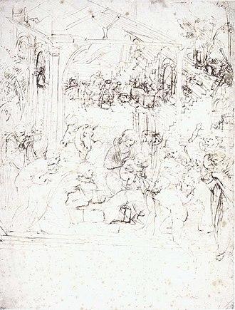 Adoration of the Magi (Leonardo) - Image: Leonardo, studio per l'adorazione dei magi, louvre