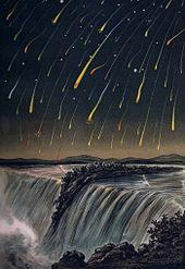 Illustration des Leoniden-Meteorstroms, Nordamerika am 12./13. November 1833 (E. Weiß: Bilderatlas der Sternenwelt, 1888), Quelle: Wikipedia.de
