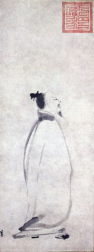 "Hanfu - Poet Li Bai in Stroll (李白行吟圖). A ""減筆畫"" (lit. minimalist painting) by Liang Kai (梁楷) of Southern Song dynasty. Note that Li Bai is depicted with his bun exposed, possibly due to the poet's heavy Taoist influence. The painting is currently kept in Tokyo National Museum."