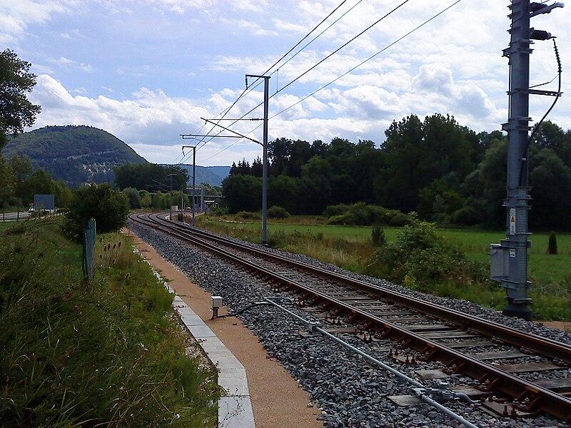 Aiguillage en entrée de la gare de Brion - La Cluse.   À gauche, la ligne Andelot-La Cluse  À droite, la ligne du Haut-Bugey direction Bellegarde
