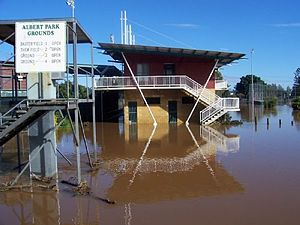 Baxter Field - The clubhouse underwater in 2005