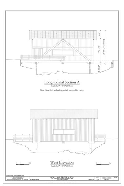 File:Longitudinal Section A; West Elevation - Neal Lane Bridge, Spanning South Myrtle Creek, Neal Lane (CR 124), Myrtle Creek, Douglas County, OR HAER OR-126 (sheet 3 of 5).tif