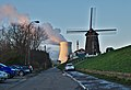 Looking at De Molen (windmill) and cooling tower from Scheldemolenstraat in Doel, Belgium (DSCF3857-hdr).jpg