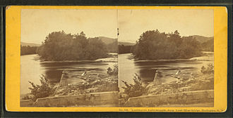 Shelburne, New Hampshire - Looking up Androscoggin, from Lead-Mine Bridge, Shelburne, N.H.; stereographic card by John P. Soule