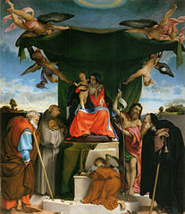 Madonna enthroned with child, angels, and saints
