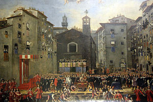 Complex of San Firenze - View of Piazza San Firenze, prior to construction of the Oratorian complex.