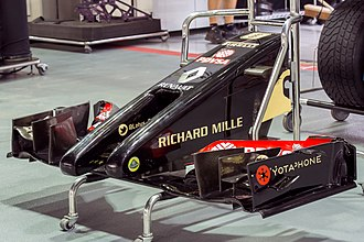 "Lotus F1 - The Lotus E22 was notable for its radical ""twin tusk"" nose concept."