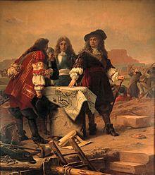 tableau représentant Vauban et Louvier qui visitent les travaux de fortifications de la ville et citadelle de Belfort en 1679