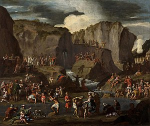 Shur (Bible) - Krzysztof Lubieniecki, Moses strikes water from the stone, 1714. According to Exodus 15, this incident took place in the wilderness of Shur.