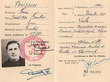 Identity Document Of French Resistance Fighter Lucien Pelissou