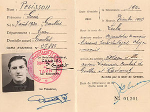French Resistance - French Resistance fighter Lucien Pélissou's identity document.