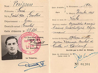 French Resistance - Identity document of French Resistance fighter Lucien Pélissou