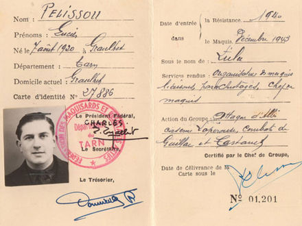 Identity document of French Resistance fighter Lucien Pelissou Lucien1.jpg