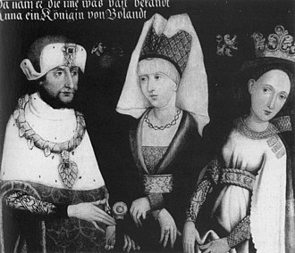 Louis II, Duke of Bavaria - Louis II with his first two wives Maria of Brabant (middle) and Anna of Glogau (right), 16th century