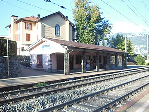 Lugano-Paradiso railway station - The north side (Chiasso bound) buildings of Lugano-Paradiso station.