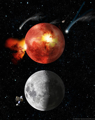 Late Heavy Bombardment - Artist's impression of the Moon during the Late Heavy Bombardment (above) and today (below).