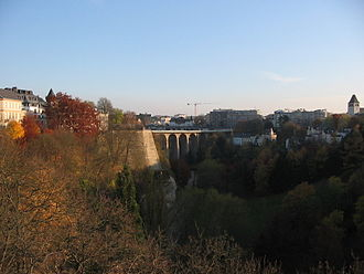 Luxembourg - Luxembourg City: The Passerelle, also known as the viaduct or old bridge, overseeing the Pétrusse river valley; it opened in 1861.
