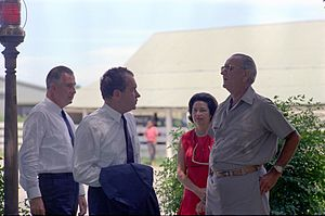 Richard Nixon presidential campaign, 1968 - Nominees Nixon and Agnew, without suit jackets, meet with casually dressed President Johnson at his ranch in Texas, with the First Lady, Lady Bird Johnson, in the background