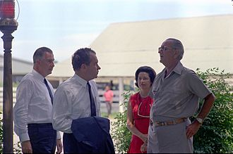 Lyndon B. Johnson National Historical Park - President Johnson and his wife Lady Bird greet Republicans Richard Nixon and Spiro Agnew, the 1968 presidential and vice-presidential nominees, at the LBJ Ranch in August 1968.