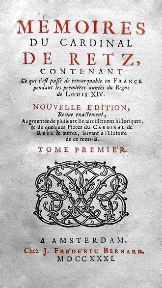 Jean François Paul de Gondi - 1731 Edition (by Bernard, Amsterdam)