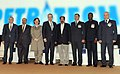 M. Veerappa Moily in a group photograph, at the Ministerial Session, during the 11th International Oil & Gas Conference and Exhibition – PETROTECH-2014, in Noida, Uttar Pradesh on January 13, 2014.jpg