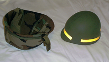 40b53f3fba187 Refurbished M1 helmet with liner and helmet cover shown