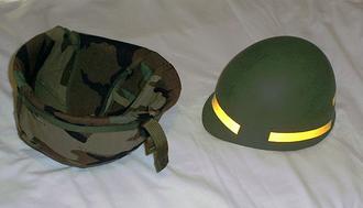 M1 helmet - Refurbished M1 helmet with liner and helmet cover shown