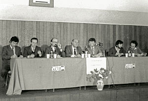 Democratic Alliance of Hungarians in Romania - Former presidents of the UDMR Géza Domokos and Béla Markó at one of the first meetings after the founding of the organisation