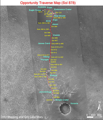 Beagle (crater) - The rover's journey up to Sol 878 (July 2006) on the way to Victoria crater, showing location of Beagle crater