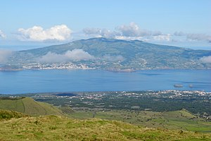 Faial-Pico Channel - A view of the Faial-Pico Channel, showing the island of Faial in the distance and Pico in the foreground