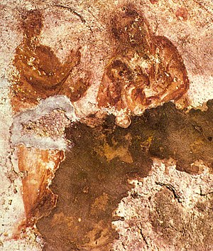 Catacomb of Priscilla - Possibly an image of Mary  nursing the Infant Jesus, though this is disputed. 3rd century, Catacomb of Priscilla, Rome.