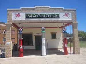 U.S. Route 66 - Restored Magnolia gasoline station museum on Route 66 in Shamrock in Wheeler County, TX