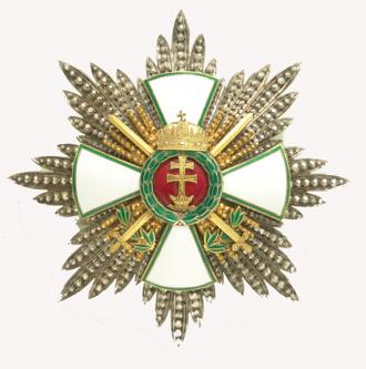 Order of Merit of the Kingdom of Hungary - Image: Magyar Érdemrend Szent Koronával ékesített nagykeresztjének csillaga hadidíszítménnyel és kardokkal