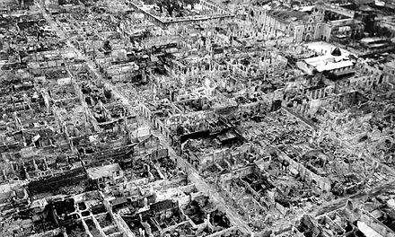 Manila, the capital of the Philippines, devastated during the Battle of Manila in 1945. Manila Walled City Destruction May 1945.jpg