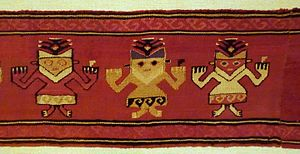 Chancay culture - Mantle border fragment of funerary cloth with anthropomorphic feline figures